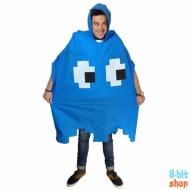 Дождевик-пончо синий призрак (Pac-man)